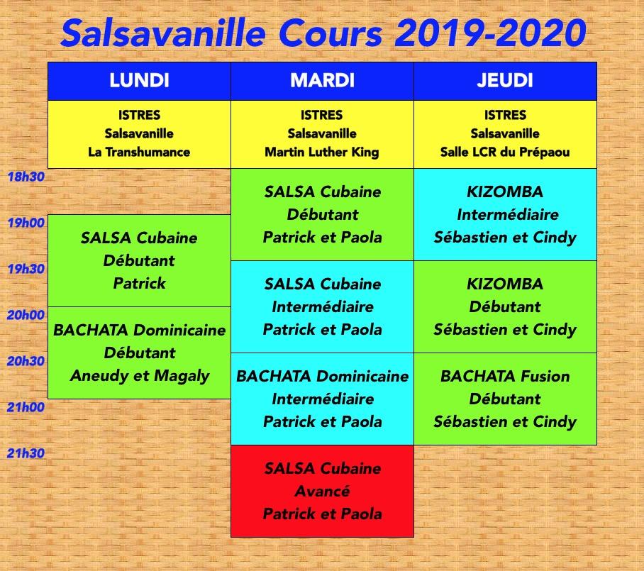 Planning Salsavanille 2019-2020